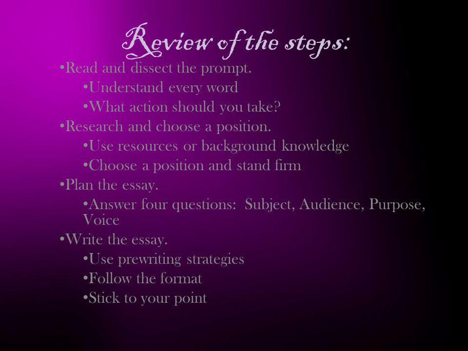 Review of the steps: Read and dissect the prompt.