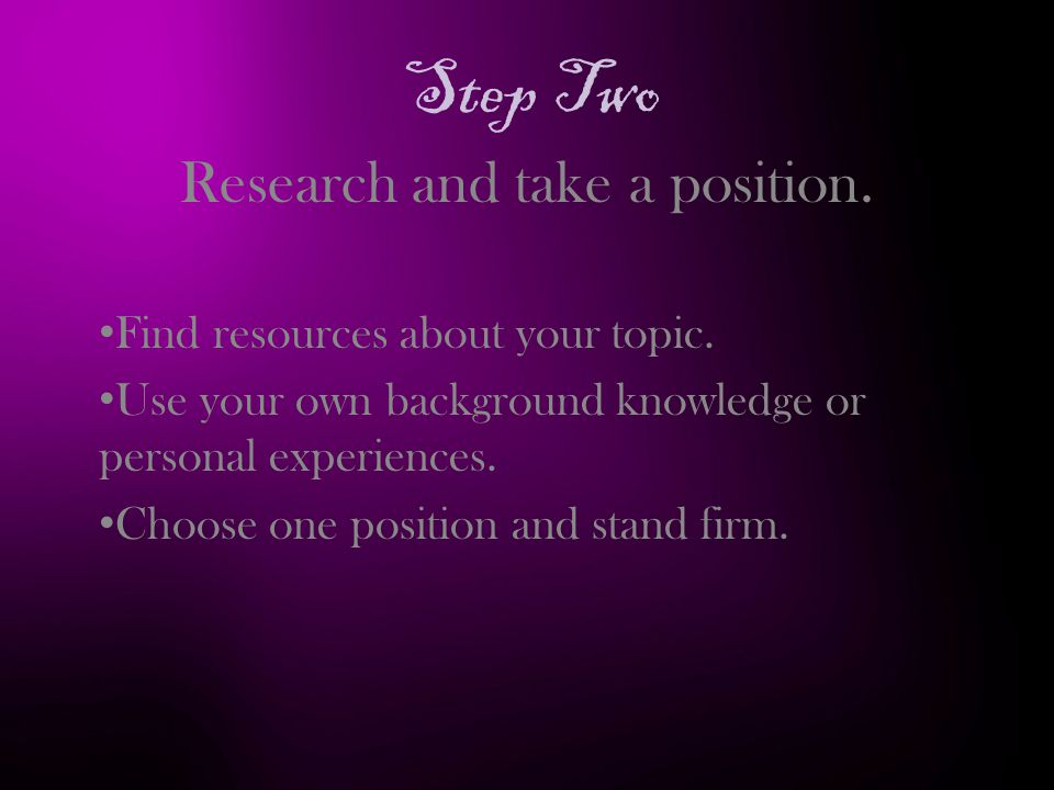 Step Two Research and take a position. Find resources about your topic.
