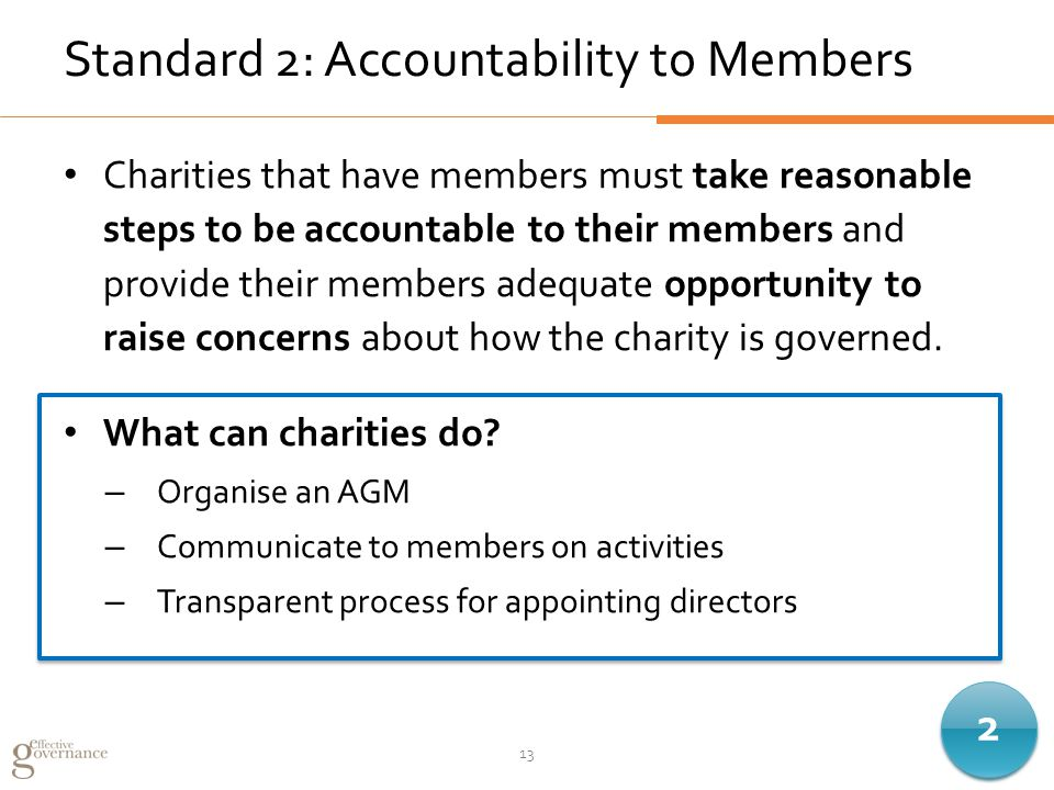 Standard 2: Accountability to Members Charities that have members must take reasonable steps to be accountable to their members and provide their members adequate opportunity to raise concerns about how the charity is governed.