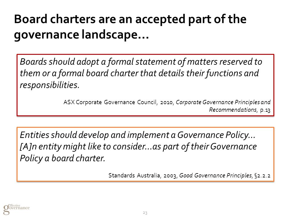 Board charters are an accepted part of the governance landscape...