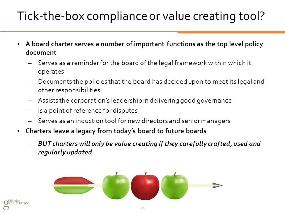 Tick-the-box compliance or value creating tool.