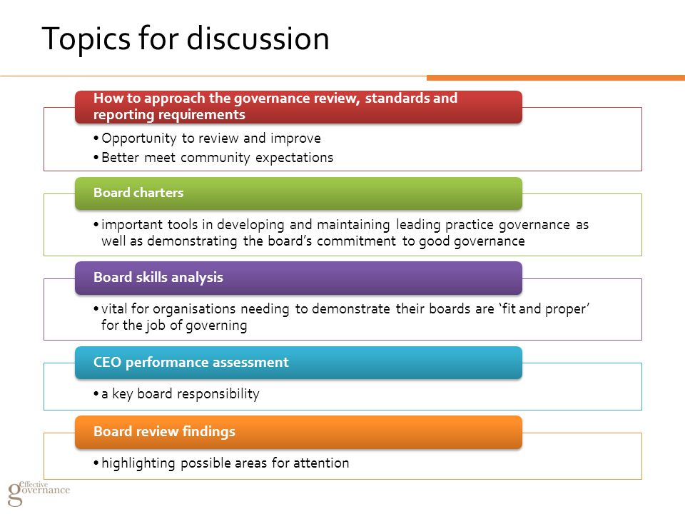 Topics for discussion Opportunity to review and improve Better meet community expectations How to approach the governance review, standards and reporting requirements important tools in developing and maintaining leading practice governance as well as demonstrating the board's commitment to good governance Board charters vital for organisations needing to demonstrate their boards are 'fit and proper' for the job of governing Board skills analysis a key board responsibility CEO performance assessment highlighting possible areas for attention Board review findings