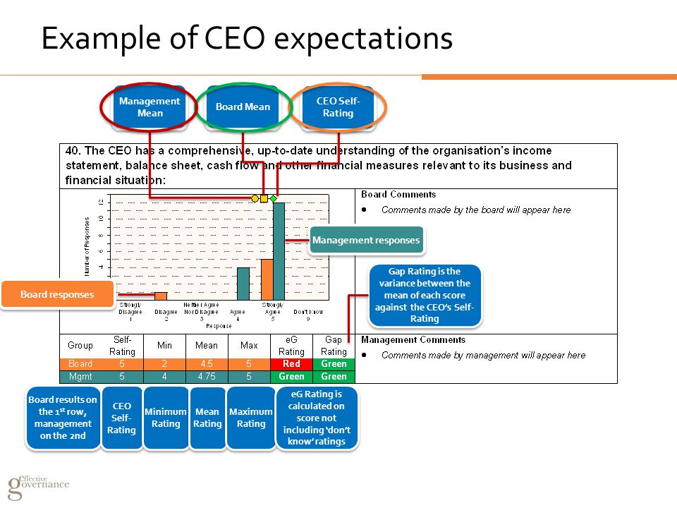 Example of CEO expectations Board results on the 1 st row, management on the 2nd CEO Self- Rating CEO Self- Rating Minimum Rating Minimum Rating Mean Rating Maximum Rating Maximum Rating eG Rating is calculated on score not including 'don't know' ratings Gap Rating is the variance between the mean of each score against the CEO's Self- Rating Board Mean Management Mean CEO Self- Rating Board responses Management responses