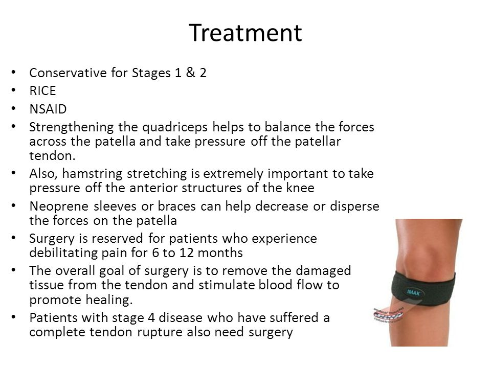 Treatment Conservative for Stages 1 & 2 RICE NSAID Strengthening the quadriceps helps to balance the forces across the patella and take pressure off the patellar tendon.