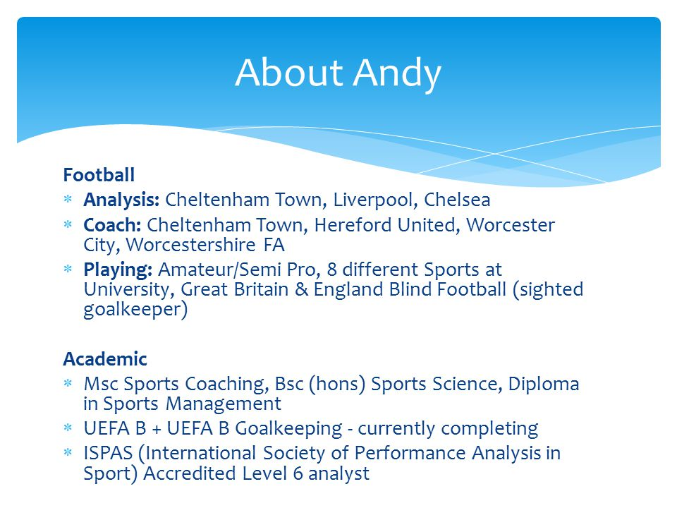  Built into their weekly plans – specific sessions  Mon – Matches/Thurs – Weekly Training (Also when necessary)  Constant liaising with coaches  Done in the following ways:  Coach – GKCoach – GK – Analyst  Analyst – GK (after consultation with coach)  1 GK or a group depending on the analysis session  Used to assist report writing and performance monitoring e.g.