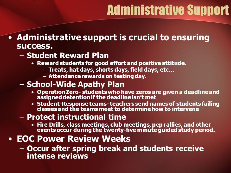Administrative Support Administrative support is crucial to ensuring success. –Student Reward Plan Reward students for good effort and positive attitu