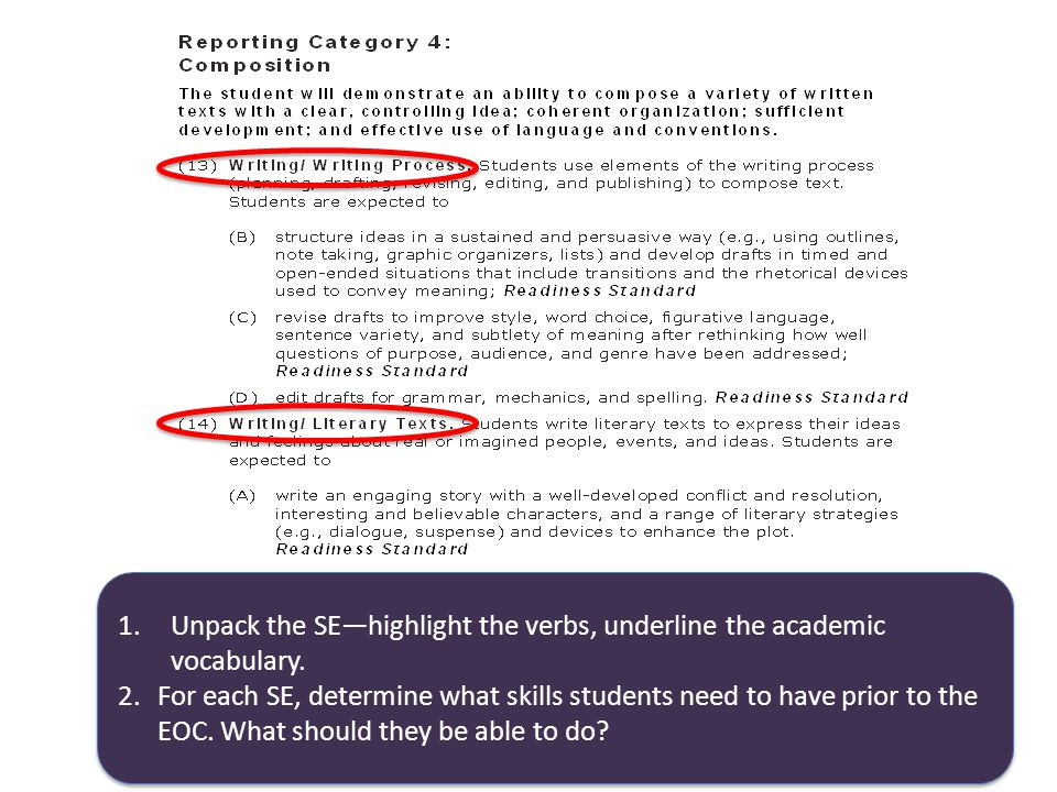 1.Unpack the SE—highlight the verbs, underline the academic vocabulary.