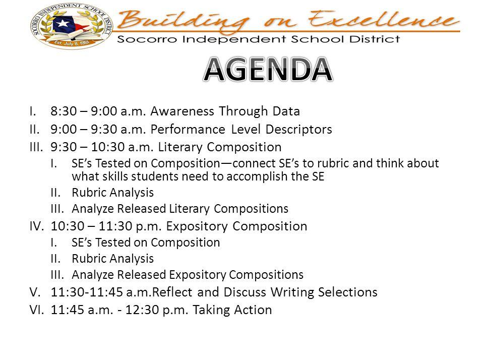 I.8:30 – 9:00 a.m. Awareness Through Data II.9:00 – 9:30 a.m.
