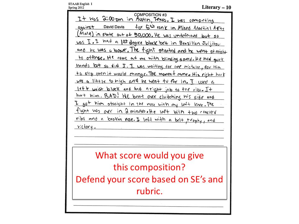 What score would you give this composition. Defend your score based on SE's and rubric.