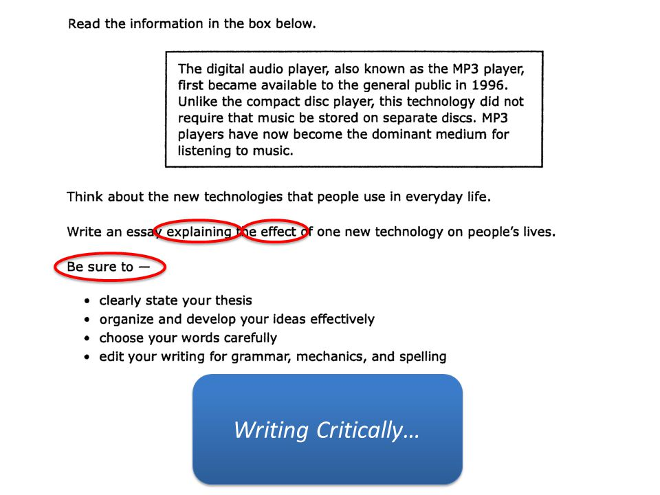 Writing Critically…