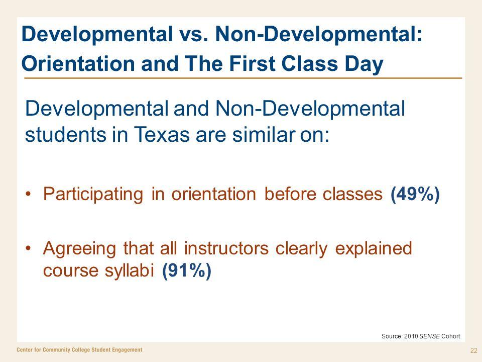 Developmental vs. Non-Developmental: Orientation and The First Class Day Developmental and Non-Developmental students in Texas are similar on: Partici