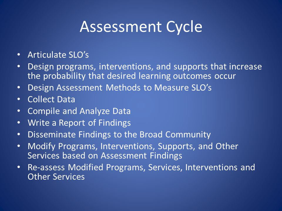 Assessment Cycle Articulate SLO's Design programs, interventions, and supports that increase the probability that desired learning outcomes occur Design Assessment Methods to Measure SLO's Collect Data Compile and Analyze Data Write a Report of Findings Disseminate Findings to the Broad Community Modify Programs, Interventions, Supports, and Other Services based on Assessment Findings Re-assess Modified Programs, Services, Interventions and Other Services