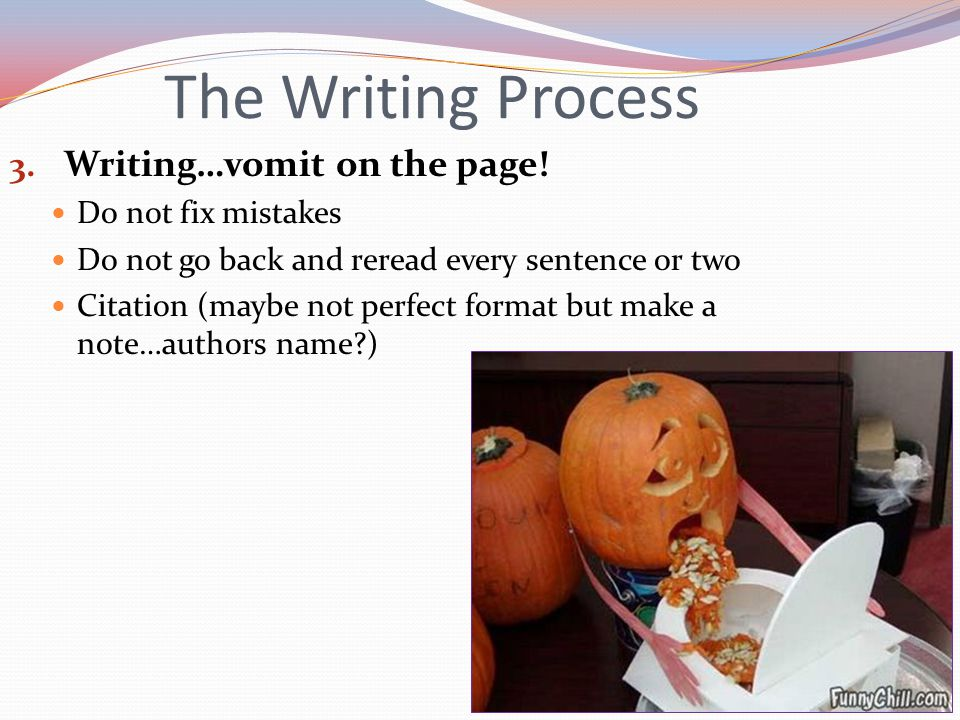 The Writing Process 3. Writing…vomit on the page.