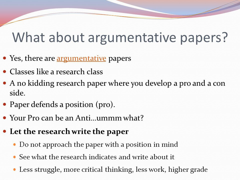 What about argumentative papers.