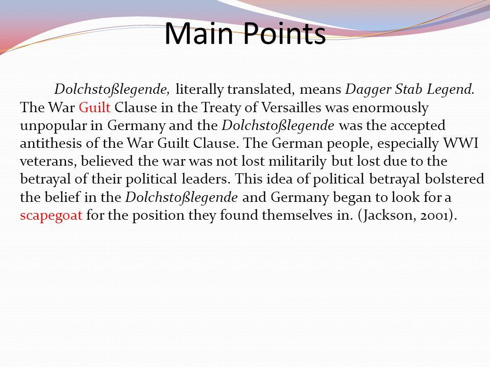 Dolchstoßlegende, literally translated, means Dagger Stab Legend.
