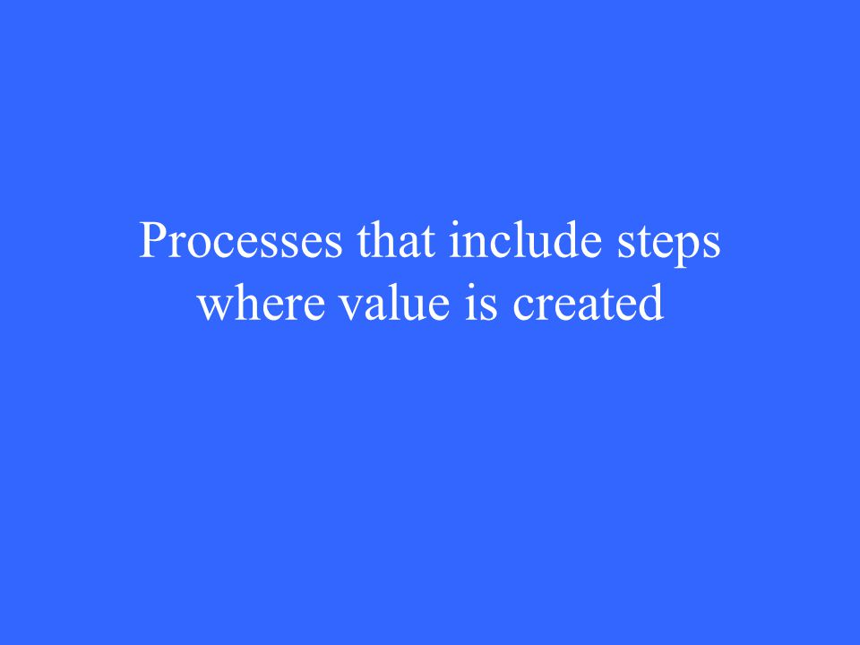 Processes that include steps where value is created