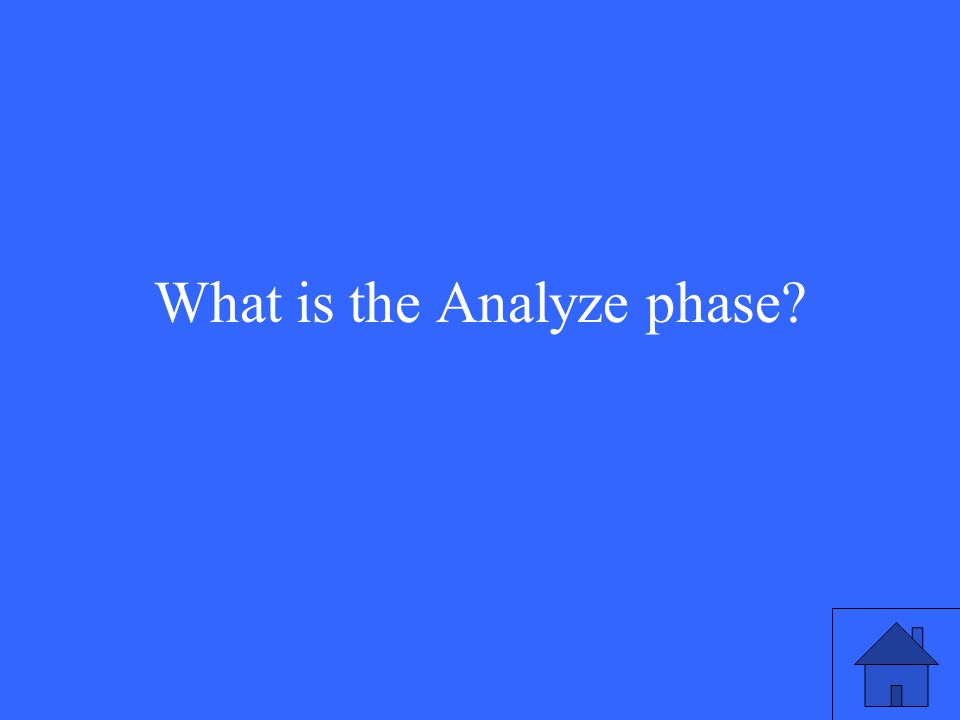 What is the Analyze phase?