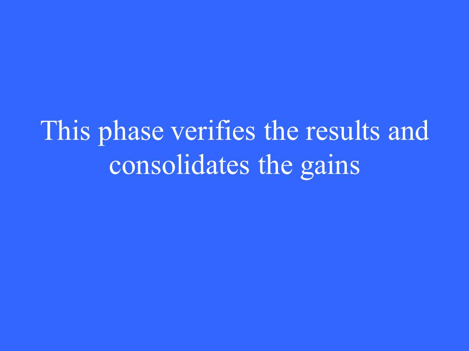 This phase verifies the results and consolidates the gains