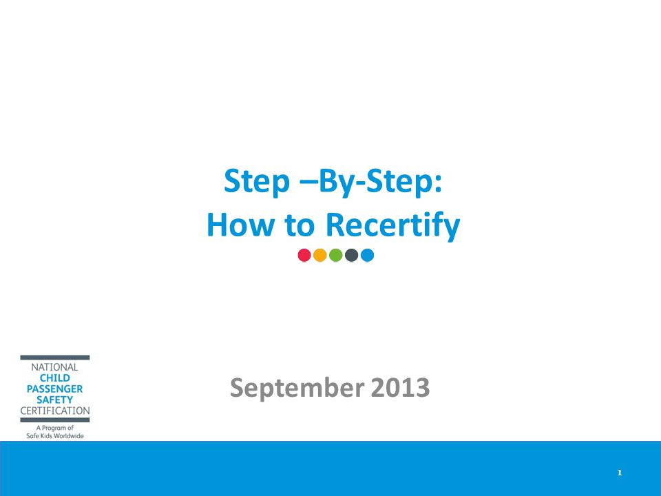 Step –By-Step: How to Recertify September 2013 1