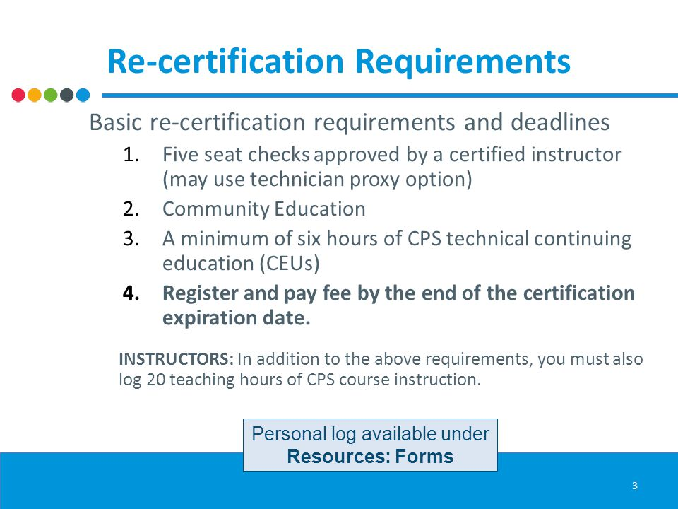 Re-certification Requirements Basic re-certification requirements and deadlines 1.Five seat checks approved by a certified instructor (may use technician proxy option) 2.Community Education 3.A minimum of six hours of CPS technical continuing education (CEUs) 4.Register and pay fee by the end of the certification expiration date.