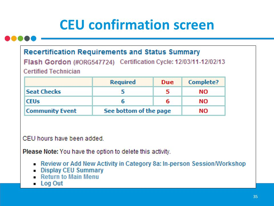 CEU confirmation screen 35