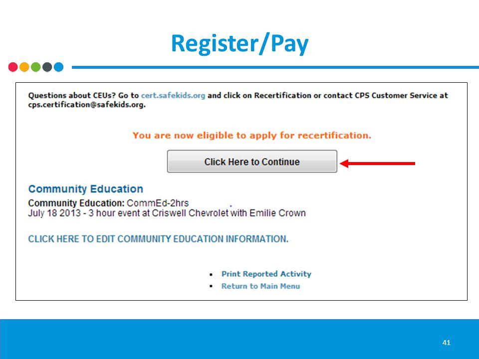 Register/Pay 41