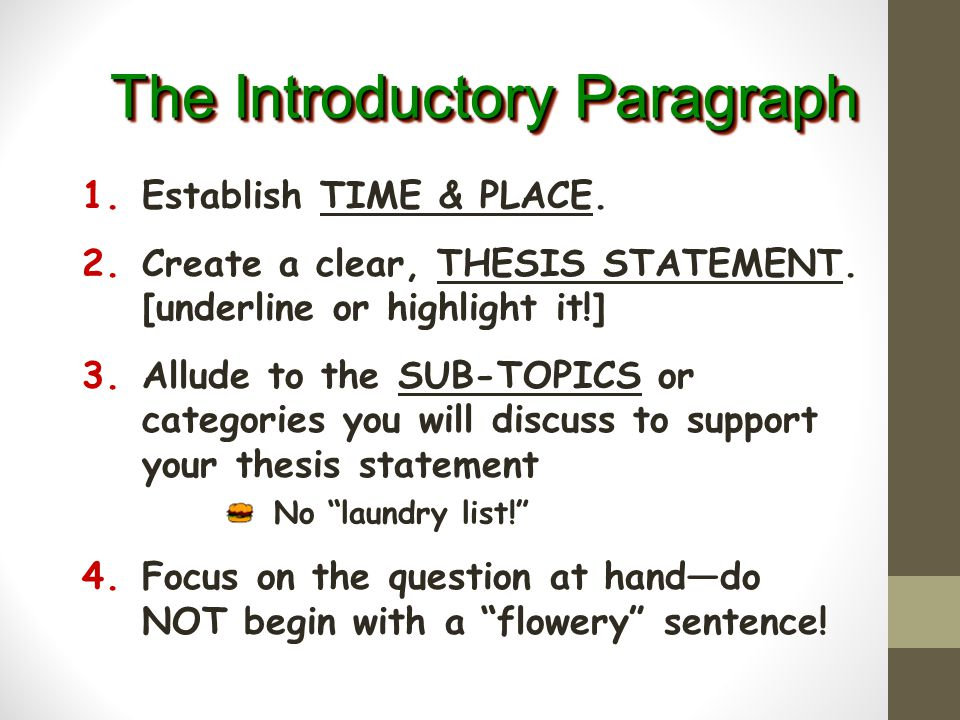 The Top Bun of your essay! 4-6 sentences Introductory Paragraph