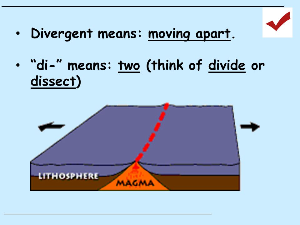Divergent means: moving apart. di- means: two (think of divide or dissect)