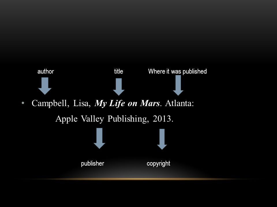Campbell, Lisa, My Life on Mars. Atlanta: Apple Valley Publishing, 2013.