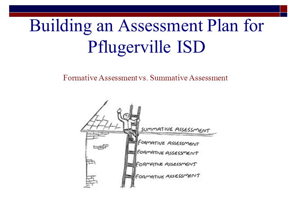 Building an Assessment Plan for Pflugerville ISD Formative Assessment vs. Summative Assessment