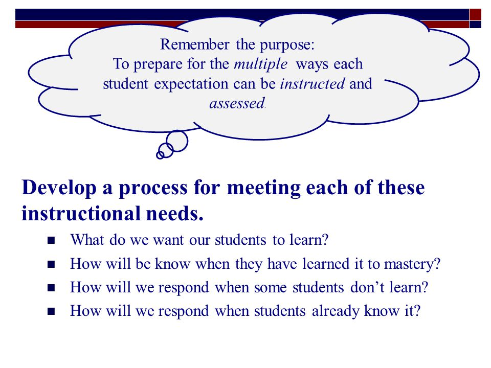 Develop a process for meeting each of these instructional needs.