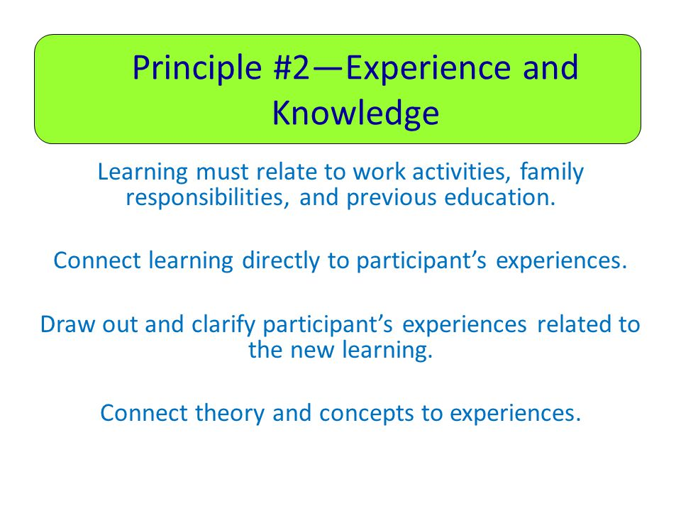 Principle #2—Experience and Knowledge Learning must relate to work activities, family responsibilities, and previous education.