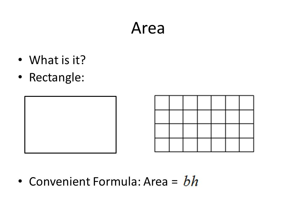 Area What is it? Rectangle: Convenient Formula: Area =