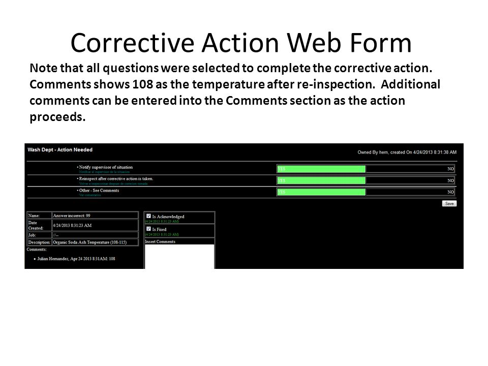 Corrective Action Web Form Note that all questions were selected to complete the corrective action.