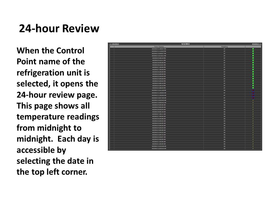 24-hour Review When the Control Point name of the refrigeration unit is selected, it opens the 24-hour review page.