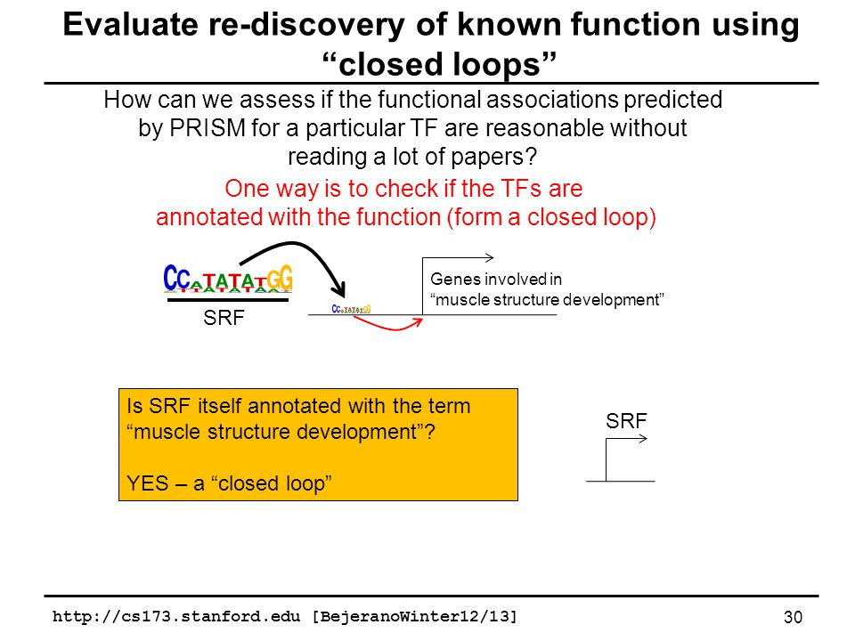 Evaluate re-discovery of known function using closed loops How can we assess if the functional associations predicted by PRISM for a particular TF are reasonable without reading a lot of papers.