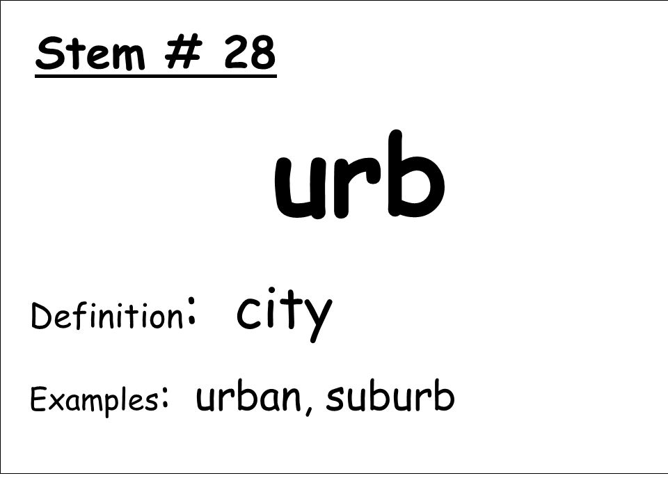 Stem # 28 urb Definition : city Examples : urban, suburb