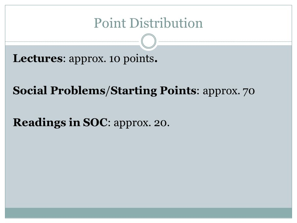 Point Distribution Lectures: approx. 10 points. Social Problems/Starting Points: approx. 70 Readings in SOC: approx. 20.