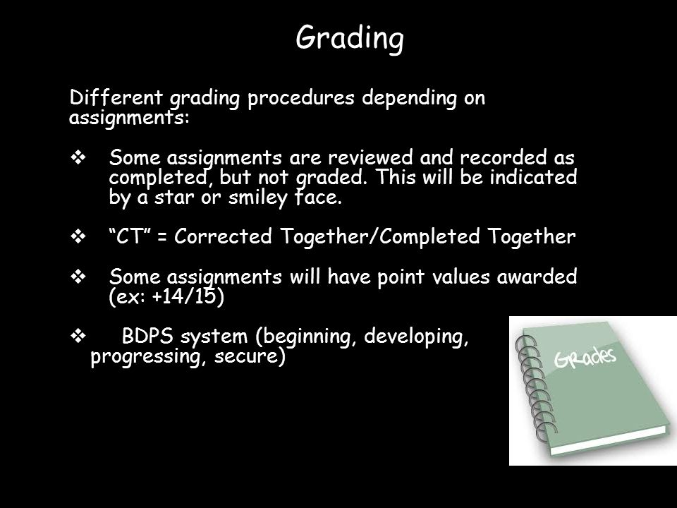 Different grading procedures depending on assignments:  Some assignments are reviewed and recorded as completed, but not graded. This will be indicat