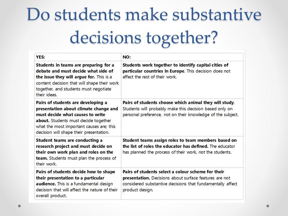 Do students make substantive decisions together?