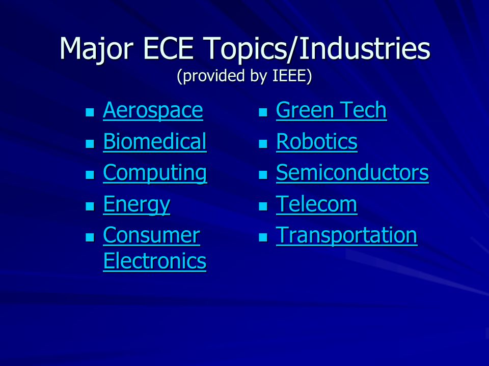 Major ECE Topics/Industries (provided by IEEE) Aerospace Aerospace Aerospace Biomedical Biomedical Biomedical Computing Computing Computing Energy Energy Energy Consumer Electronics Consumer Electronics Consumer Electronics Consumer Electronics Green Tech Green Tech Green Tech Green Tech Robotics Robotics Robotics Semiconductors Semiconductors Semiconductors Telecom Telecom Telecom Transportation Transportation Transportation