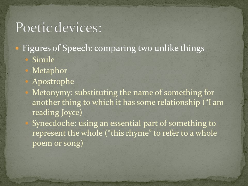 Figures of Speech: comparing two unlike things Simile Metaphor Apostrophe Metonymy: substituting the name of something for another thing to which it has some relationship ( I am reading Joyce) Synecdoche: using an essential part of something to represent the whole ( this rhyme to refer to a whole poem or song)