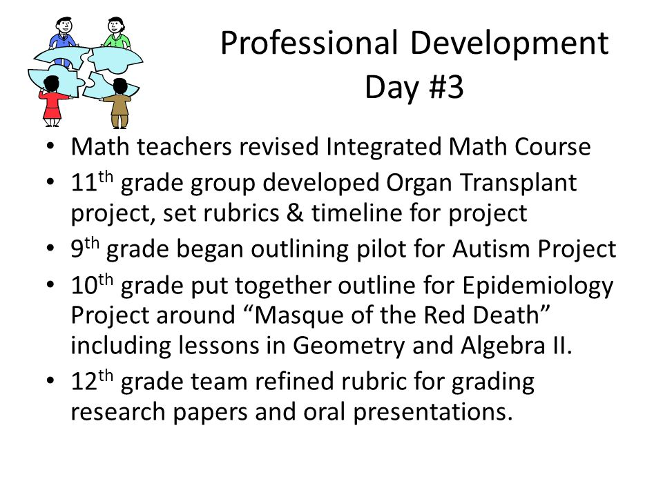 Professional Development Day #3 Math teachers revised Integrated Math Course 11 th grade group developed Organ Transplant project, set rubrics & timeline for project 9 th grade began outlining pilot for Autism Project 10 th grade put together outline for Epidemiology Project around Masque of the Red Death including lessons in Geometry and Algebra II.