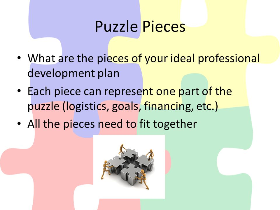 Puzzle Pieces What are the pieces of your ideal professional development plan Each piece can represent one part of the puzzle (logistics, goals, financing, etc.) All the pieces need to fit together