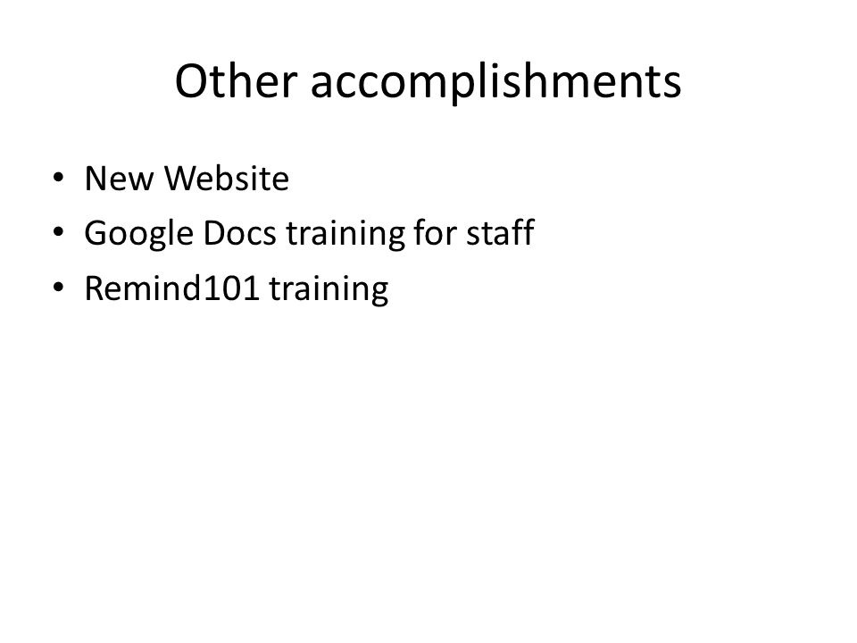 Other accomplishments New Website Google Docs training for staff Remind101 training