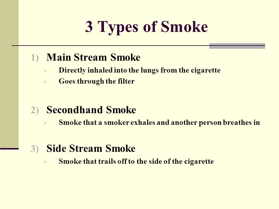 3 Types of Smoke 1) Main Stream Smoke  Directly inhaled into the lungs from the cigarette  Goes through the filter 2) Secondhand Smoke  Smoke that
