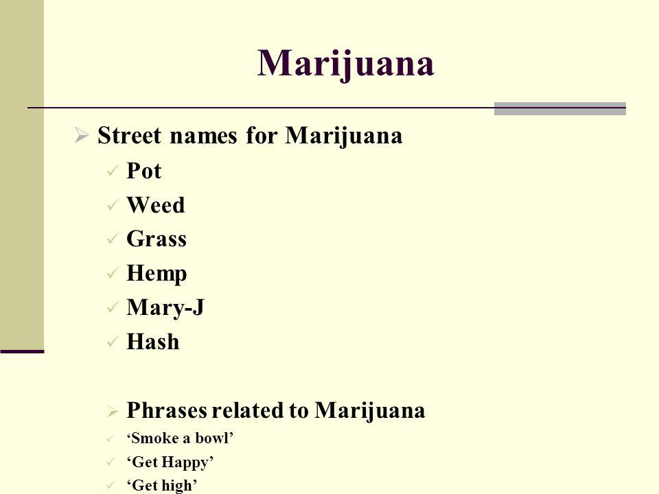 Marijuana  Street names for Marijuana Pot Weed Grass Hemp Mary-J Hash  Phrases related to Marijuana ' Smoke a bowl' 'Get Happy' 'Get high'