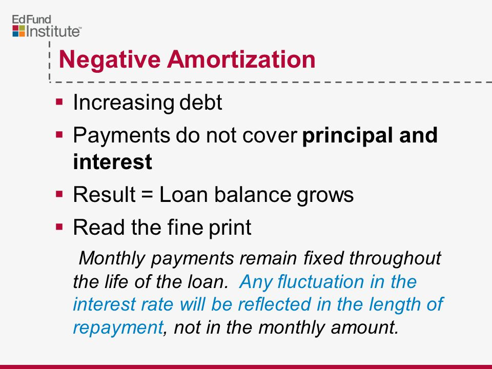 Negative Amortization  Increasing debt  Payments do not cover principal and interest  Result = Loan balance grows  Read the fine print Monthly payments remain fixed throughout the life of the loan.