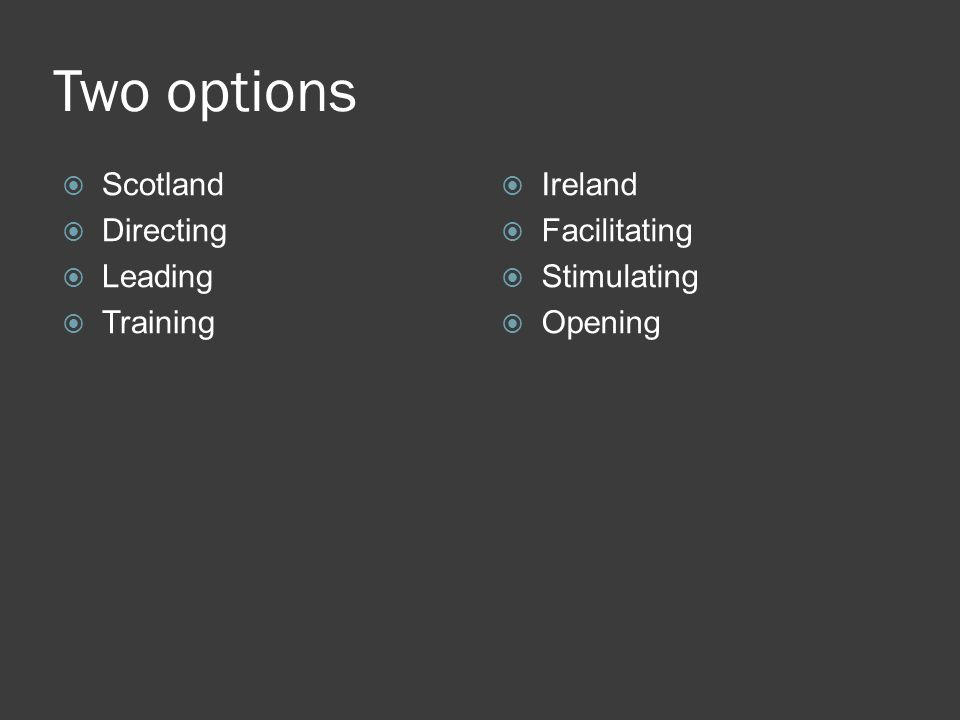 Two options  Scotland  Directing  Leading  Training  Ireland  Facilitating  Stimulating  Opening