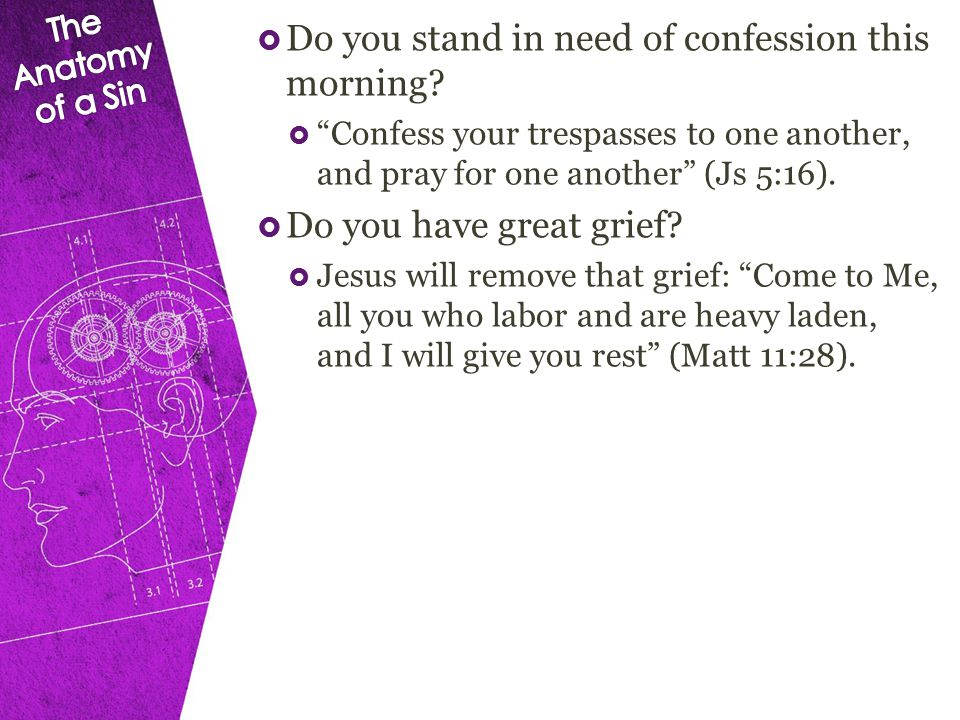  Do you stand in need of confession this morning.